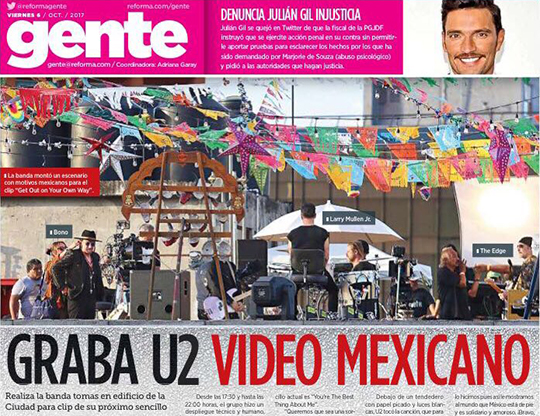 Reforma newspaper reports on new U2 video shoot