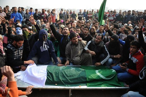 thousands of people participated in the funeral prayers of three martyred youth in different areas of Shopian district, today.