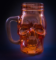 Skull 'jam jar' type glass