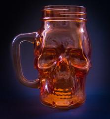 Skull 'jam jar' type glass