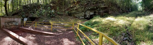 Panoramic view of an abandoned iron mine at Red Mountain, Alabama