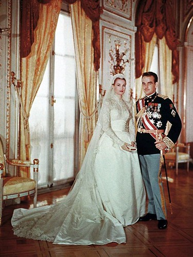 Wedding Dresses : Grace Kelly's satin and lace wedding dress made by the wardrobe department a...