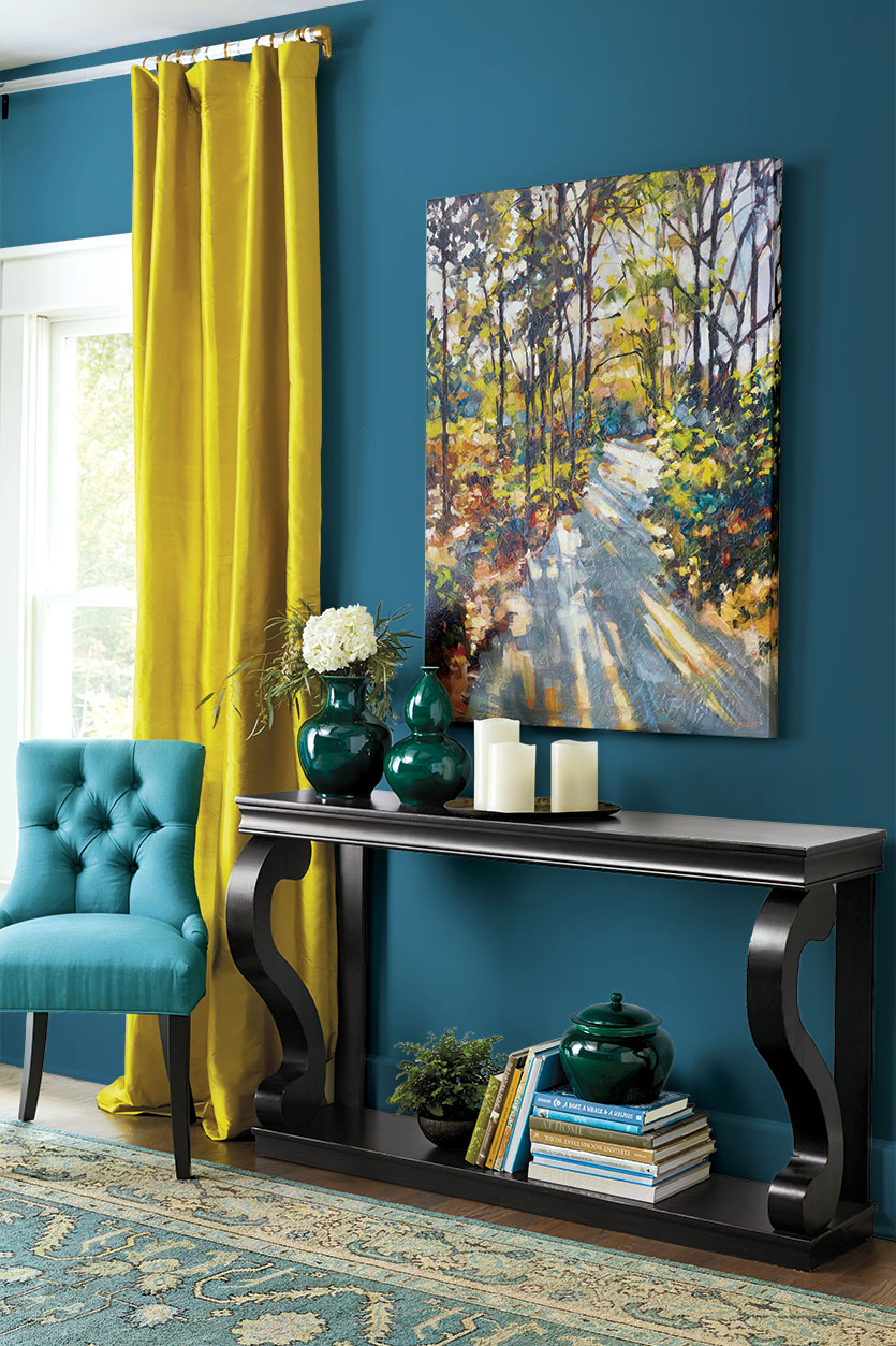 How to Decorate with Jewel Tones Turquoise Walls Yellow Curtains