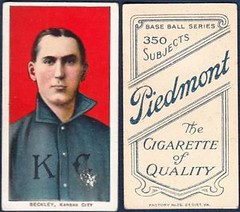 1909-11 / T206 White Border - JAKE BECKLEY (First Base / Manager) - Kansas City Blues / American Association (Raw) (Baseball Hall of Fame 1971) (1910 / Piedmont 350 / 25 Back) Tobacco / Cigarette Baseball Card (#29)