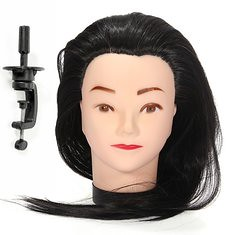 Hairdressing Training Practice Head Model with 50% Real Human Hair Long Adjustable Holder Clamp (1039013) #Banggood