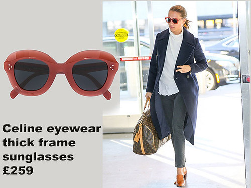 Celine-eyewear-thick-frame-sunglasses, Alicia Vikander, thick frame sunglasses, Louis Vuitton holdall, holdall bag, long navy winter coat, white sweater,