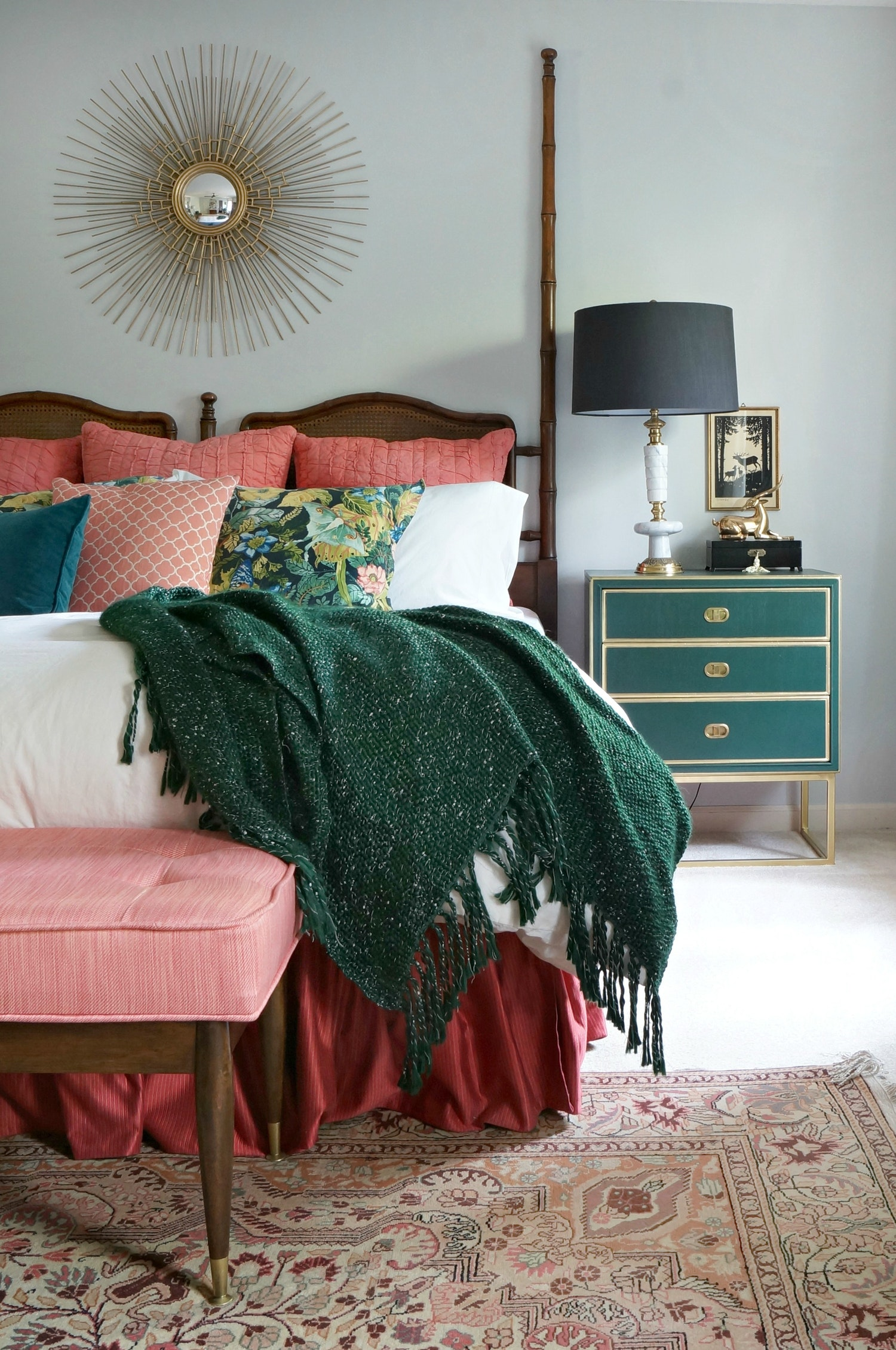 Forest Green Throw Red Bedding Jewel Toned Bedroom Insipiration