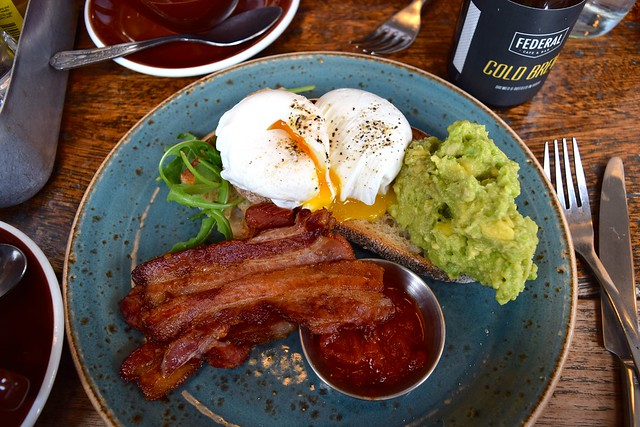 Poached Eggs, Bacon, Avocado, Tomato Relish & Sourdough at Federal Bar & Cafe, Manchester | www.rachelphipps.com @rachelphipps