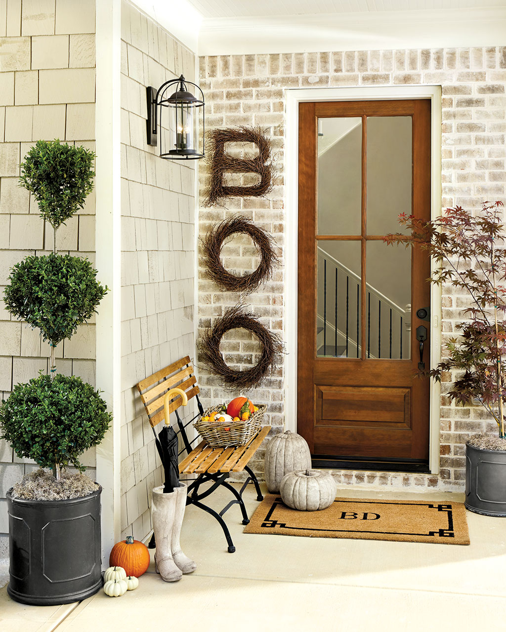 Outdoor Fall Porch Front Door Decoration Ideas Halloween Boo Wreath Stone Pumpkins