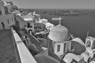 Santorini - Fira St John Theologian morning view bw