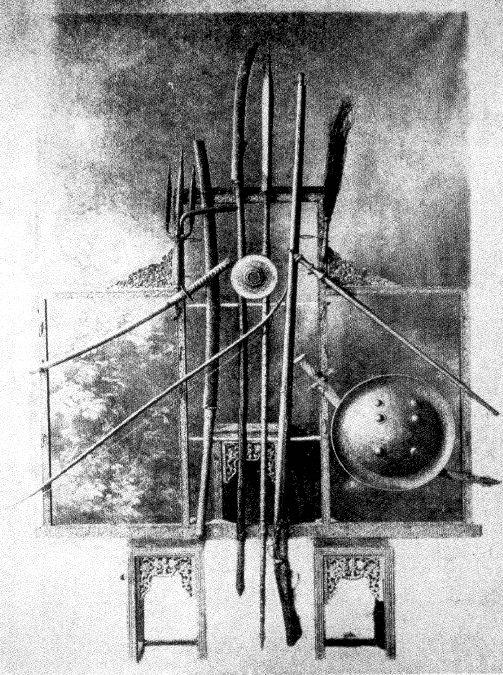 Eight Royal Weapons of Siamese Sovereignty. Photo taken for the coronation of King Prajadhipok (Rama VII). February 25, 1926.