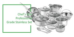 Stainless Steel Cookware Set Review : Chef's Star Professional Grade Stainless Steel 17 Piece Pots & Pans Set – Induction Ready Cookware Set Reviews