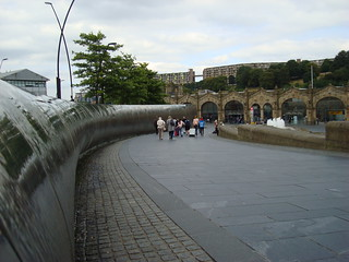 Water features in Sheffield with the railway station in the middle distance