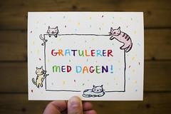 Cat-themed birthday card for Kim