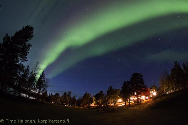 Korpikartano and aurora