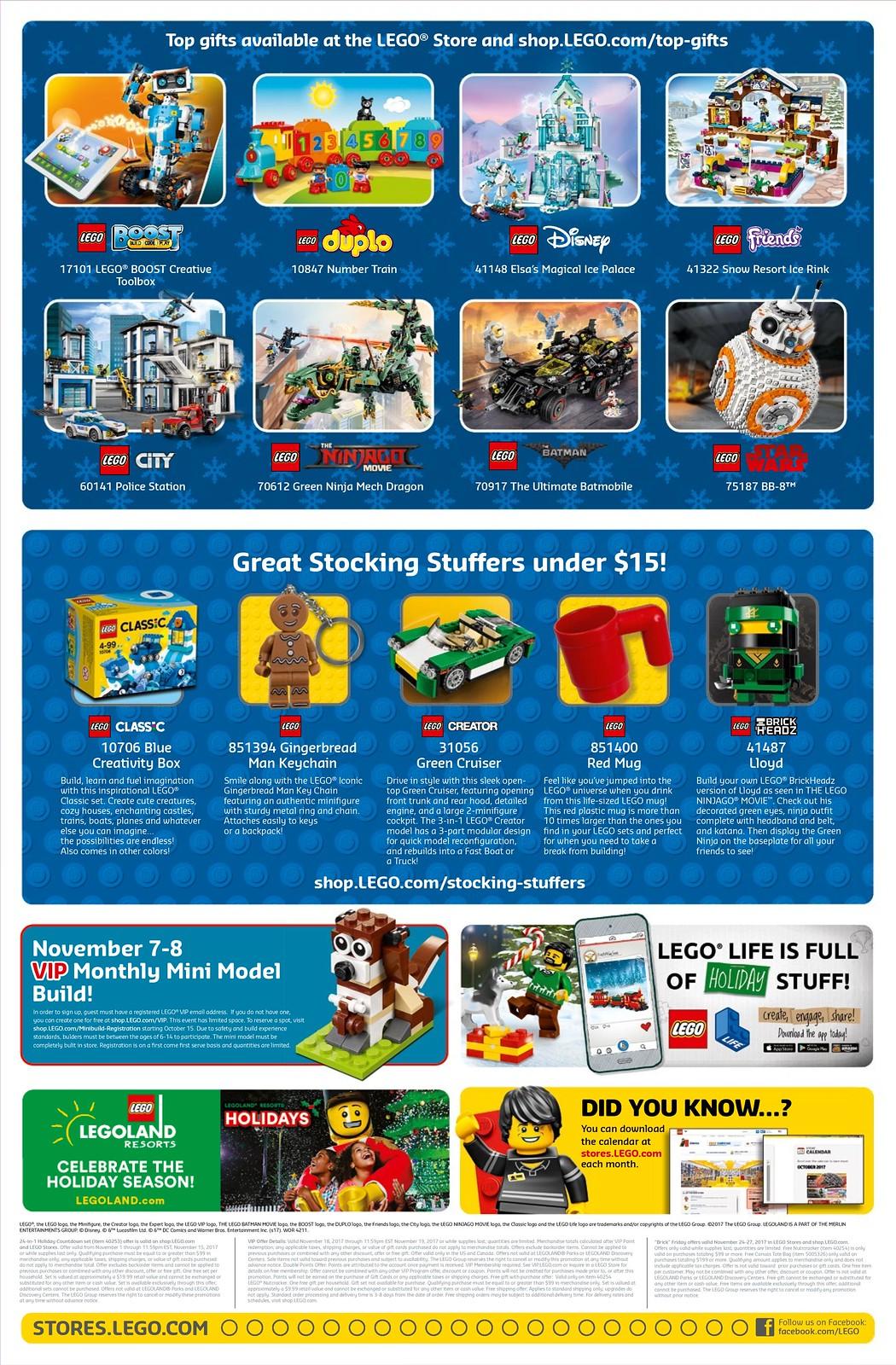 LEGO Brand Store Calendar November Promotions