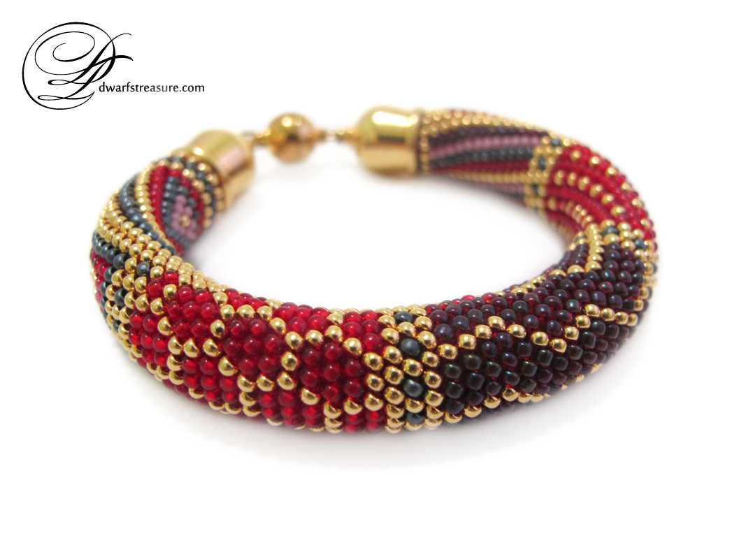Sophisticated bright colors beaded crochet bracelet