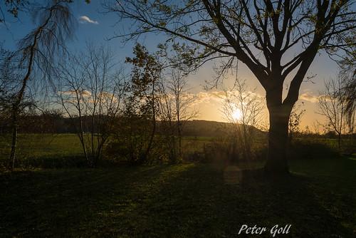 Bad Birnbach, Sonnenuntergang im Kurgarten