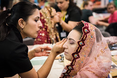 Bolton College - Beauty Showcase Participant Getting Makeup Done