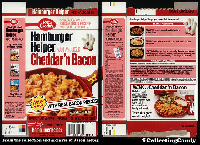 General Mills - Betty Crocker - Hamburger Helper Cheddar 'n Back - NEW - 8oz product package box - 1990
