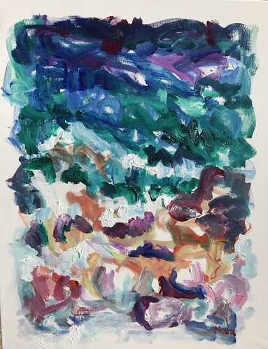 Susan Marx, Sea and Rocks, Cassis 2017, 30x24, acrylic on canvas
