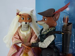 2017 Robin Hood and Maid Marian Designer Doll Set - Disney Store Purchase - Covers Off - Midrange Right Front View