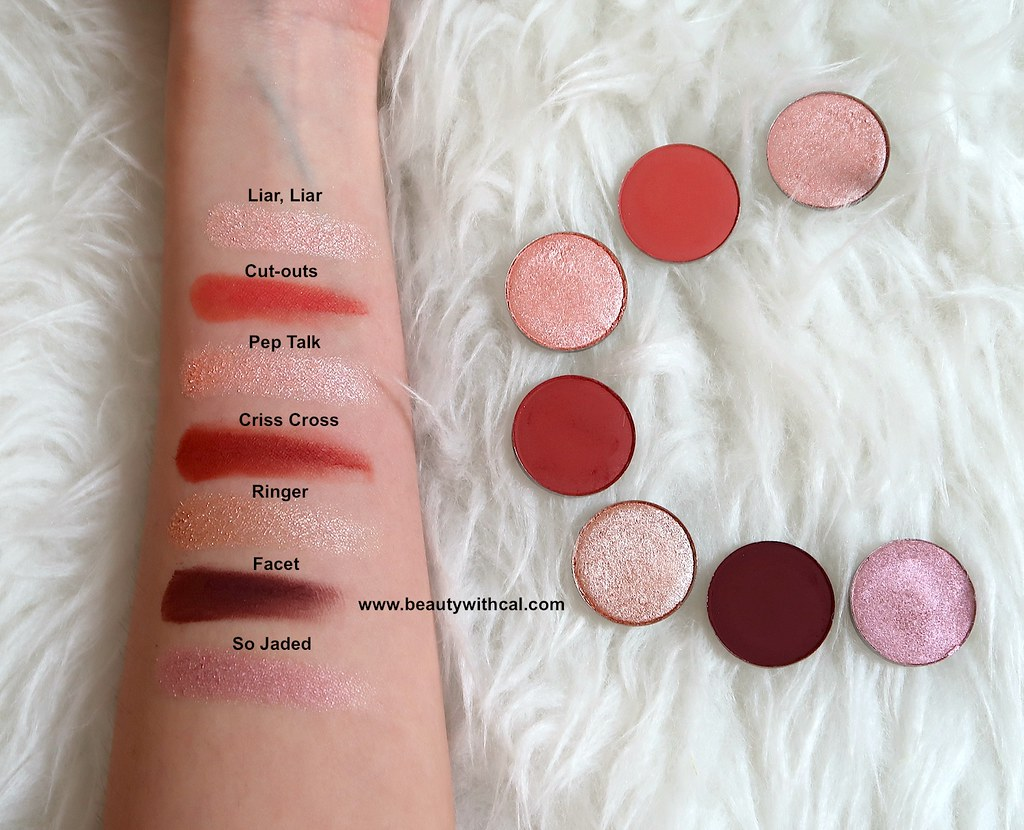 Swatches names of CP eyeshadows
