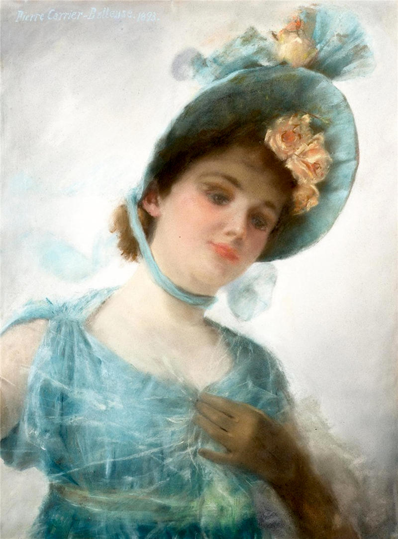 The Summer Bonnet by Pierre Carrier-Belleuse, 1893