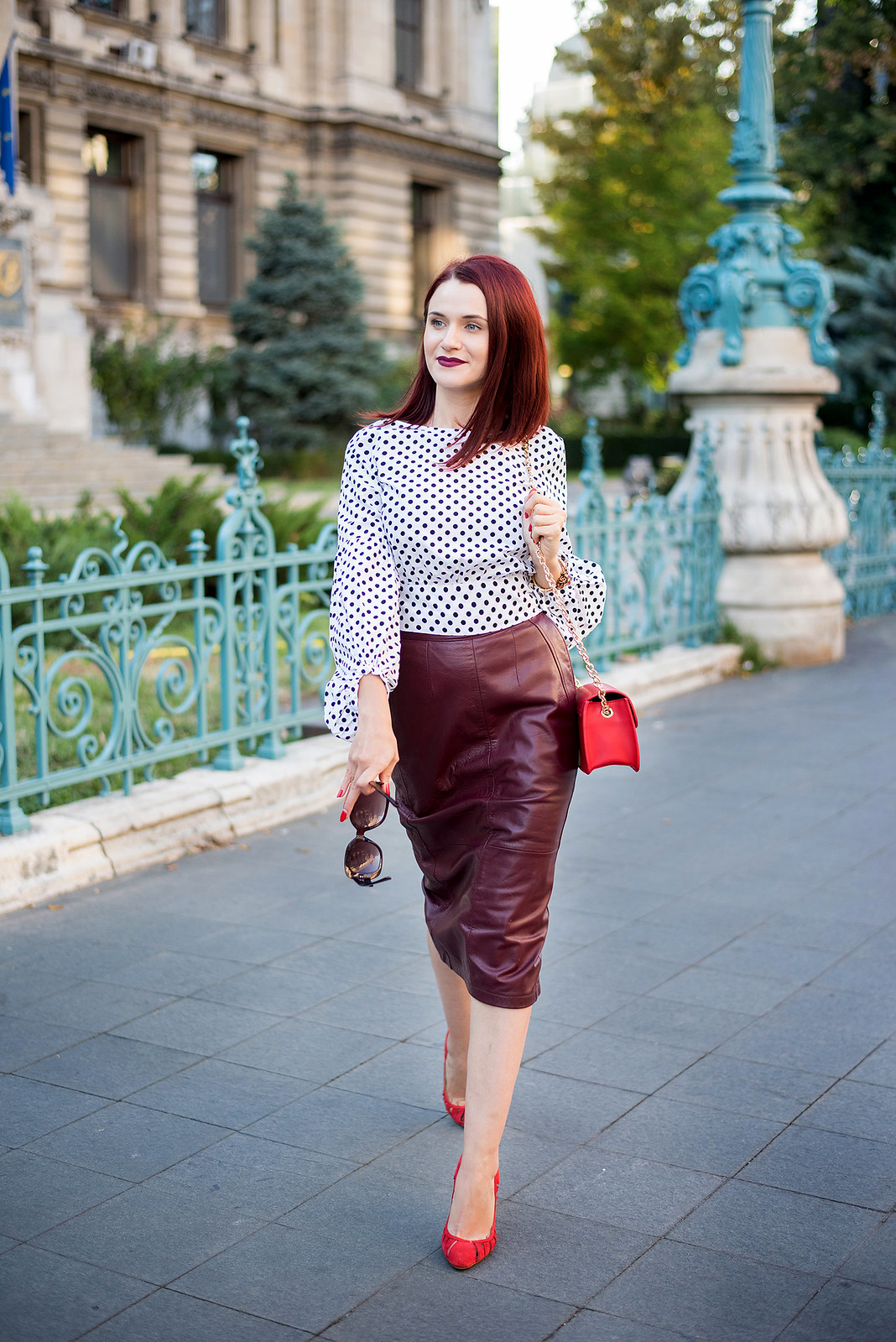 polka dots and leather skirt 5
