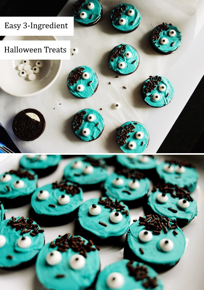 Halloween zombie cookies DIY - easy homemade treats for Halloween parties