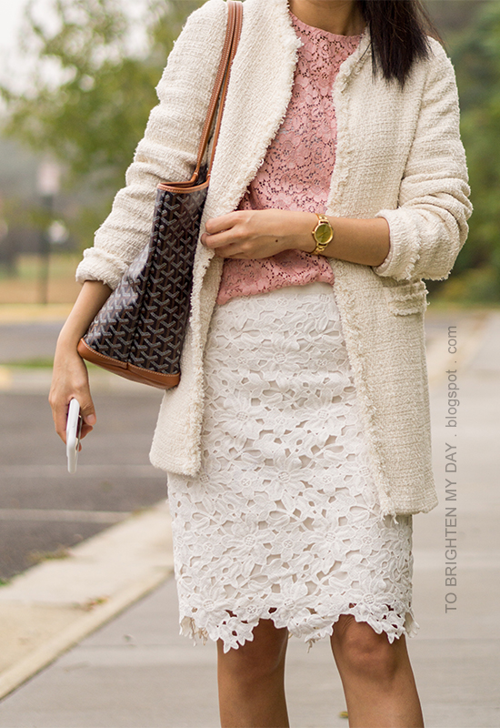 tweed jacket, pink lace top with bell sleeves, floral lace pencil skirt, gold watch, monogrammed tote