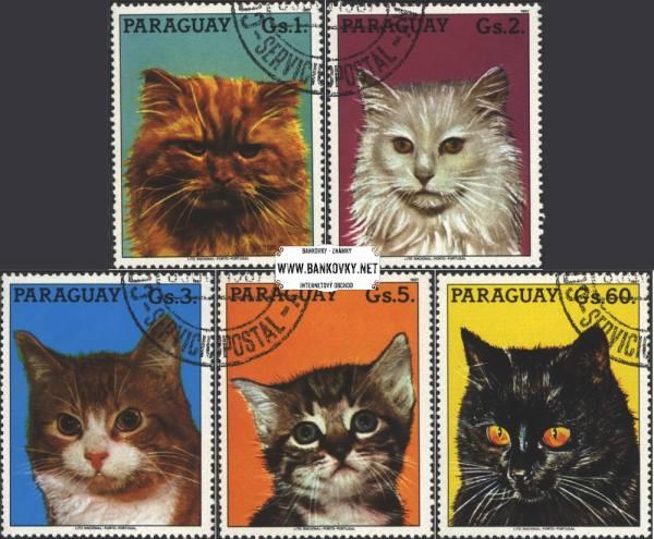 Známky Paraguay Mačky 1987, razítkovaná séria