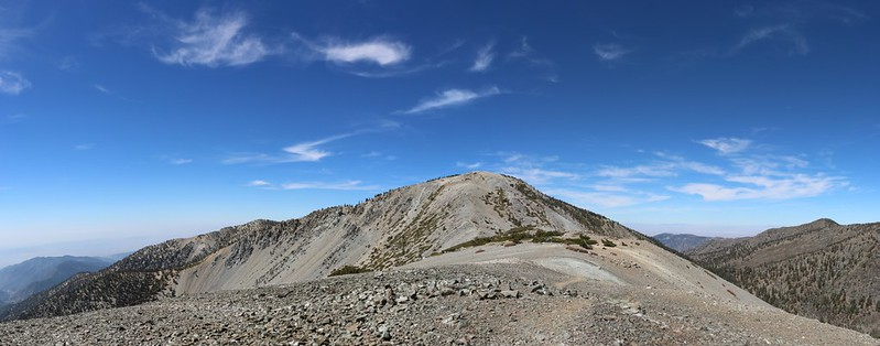 Panorama view west toward Mount Baldy from the summit of Mount Harwood
