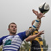 Sale's Gareth Rawlings beats Gareth Turner to the lineout ball-8854