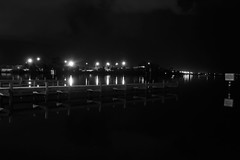 BOAT RAMP AT NIGHT IN BLACK AND WHITE