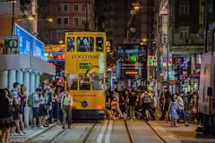 busy tram stop