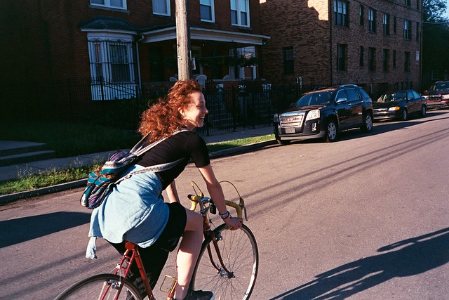 Riding bike with Nina in Detroit