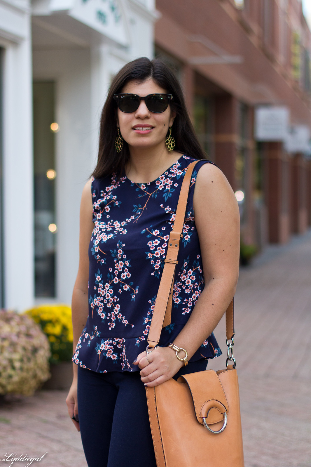 cherry blossom print top, navy pants, rust mules-7