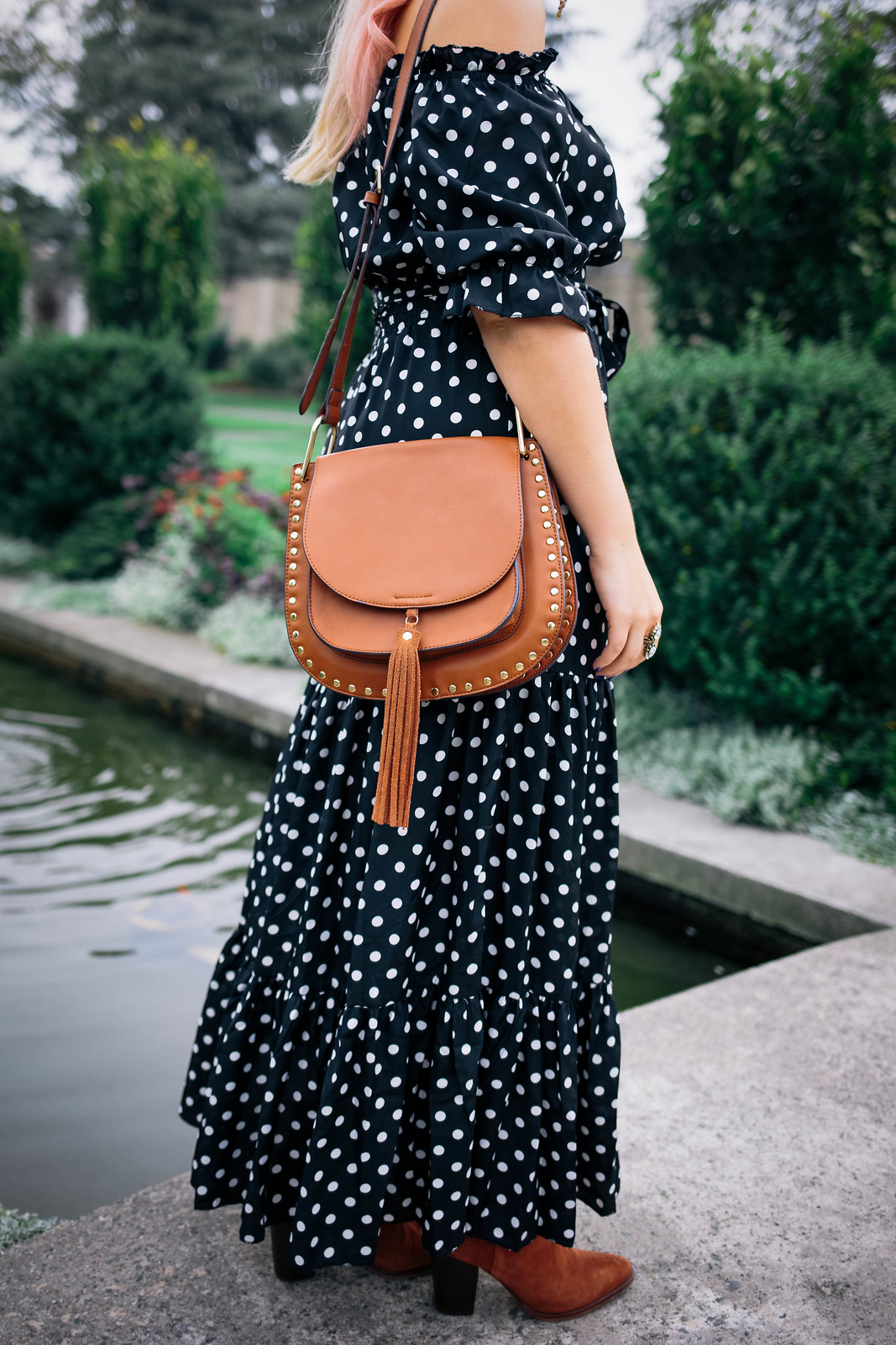 Polka Dot Maxi Dress Brown Studded Tassel Crossbody Bag Cinnamon Sam Edelman Booties