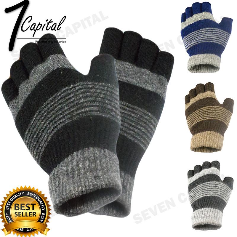 Mens Womens Winter Warm Knit Wool Fingerless Half Finger Magic