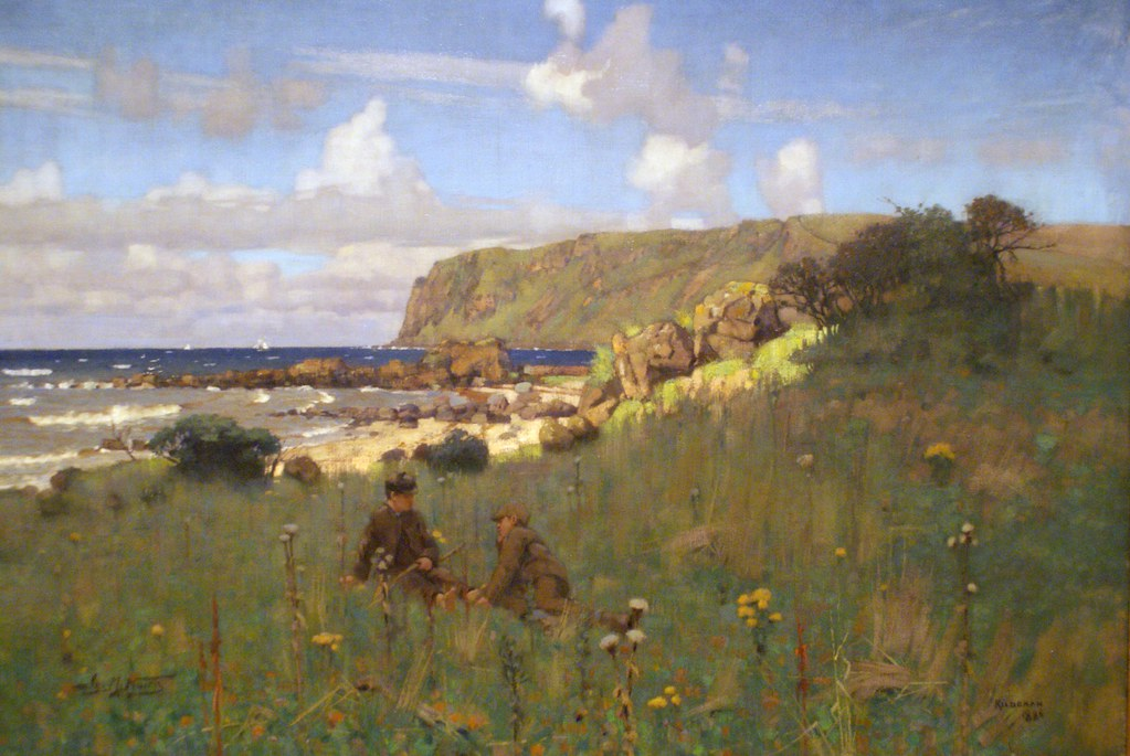 > Falaise à Blackwaterfoot « Kildonan, Arran » (1886), peinture de James Nairn