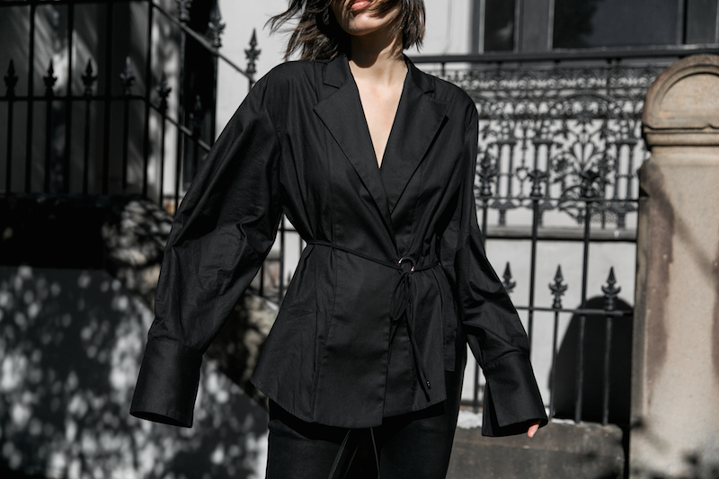 all black outfit minimal street style oversized shirt leather pants shearling slides fashion blogger michael lo sordo shirt bassike chloe kaity modern legacy Instagram  (7 of 7)