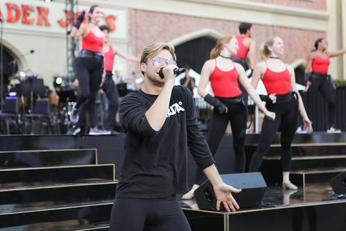 Singer performing in USC Village Opening dress rehearsal