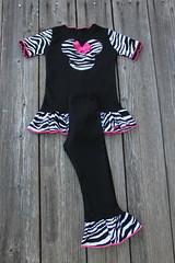 Zebra Minnie Mouse Top Pant Lace