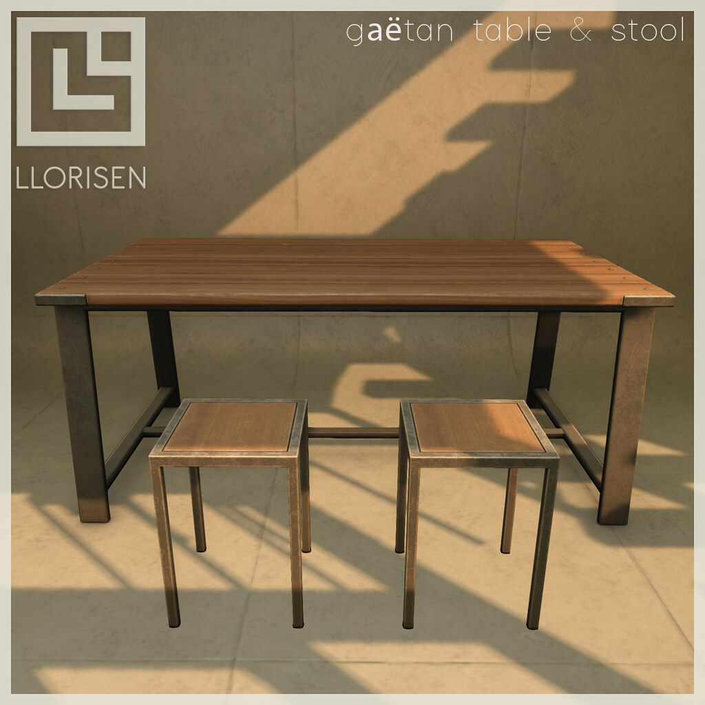 Llorisen-Vendor---Gaetan-Table-&-Stool - TeleportHub.com Live!