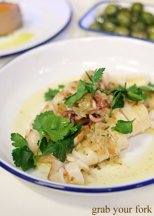 Grilled calamari at Mr Liquor's Dirty Italian Disco by Pinbone at the Tennyson Hotel Bottle Shop in Mascot