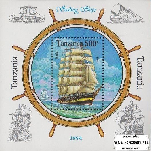 Známky Tanzánia 1994 Plachetnica, razítkovaný hárček