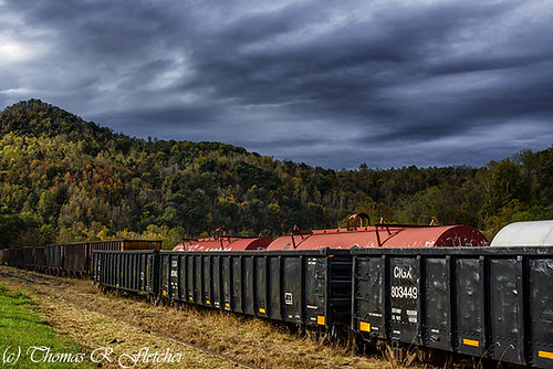 Railroad Cars Fall Color Stormy Sky