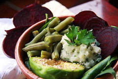 Buddha Bowl with mashed potatoes, parley, beets, avocado and green beans