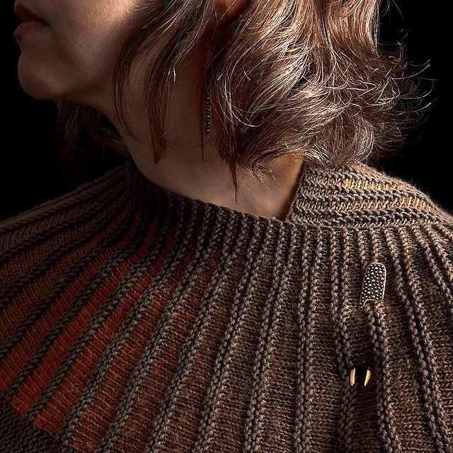 New Bronze Demi-Sec Shawl Pin in my @westknits Spectra Shawl my mama @carol_nina_knits made for me.